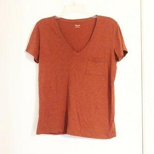 Madewell Orange V-Neck T-Shirt